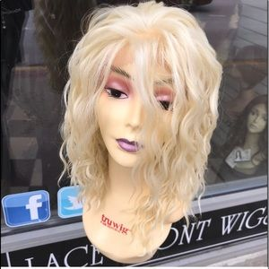 Blonde curly freepart 14 inch wig Lacefront wig